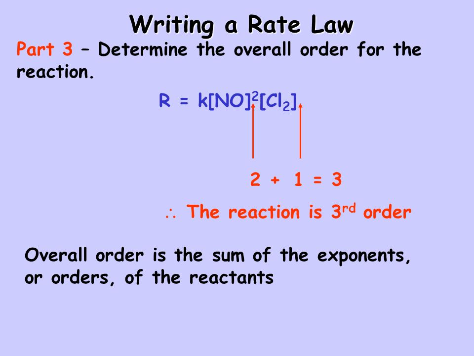 Writing a Rate Law Part 3 – Determine the overall order for the reaction. R = k[NO]2[Cl2] 2. + 1.